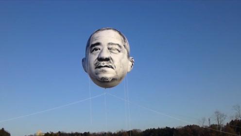 """日本高空飘着一张""""大叔脸"""",抬头就能与他对视,夜晚更是玄妙"""