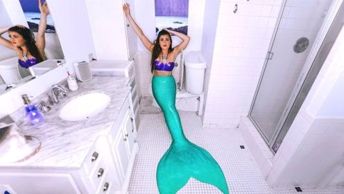 美女挑战一天都穿着美人鱼服饰,出门就是一道风景线,太美了