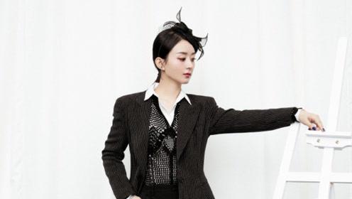 赵丽颖网纱礼帽造型优雅时尚 波点西装全黑LOOK霸气十足