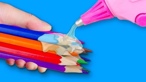 文具DIY创意小妙招,彩色铅笔加点热熔胶还有这妙用,实在太棒了