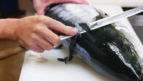 日本顶级厨师有多恐怖?极品黄条鰤刺身,刀工宛如削苹果皮!