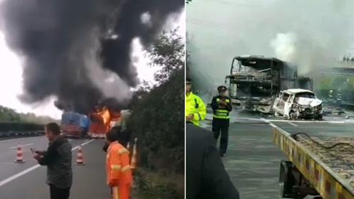 沪陕高速合六叶段发生6车追尾 现场4车起火导致大面积拥堵
