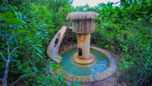 小伙花式操作,用泥巴在村里盖了个水上乐园,这手艺我彻底被征服了!