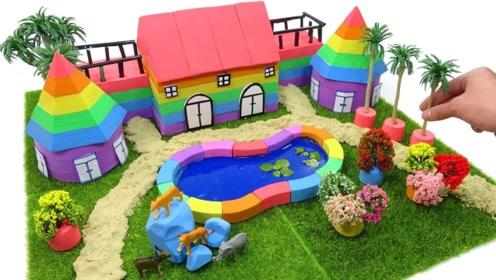史莱姆和太空沙巧妙组合,老外建造出带游泳池的房子,画面看着真过瘾!