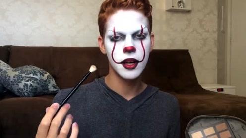 当小伙将自己美妆打扮成小丑,你觉得有几分相似?