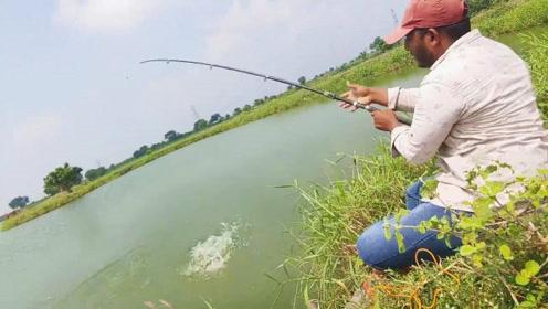 对于钓鱼人来说,接连中鱼的感觉真爽,才一会就钓获两条大家伙
