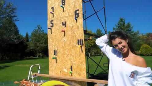 """战斗民族女孩挑战爬5米""""高墙"""",各种障碍不断,看她能成功吗"""