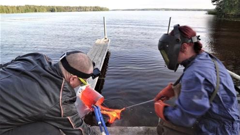 老外将高温岩浆倒进湖水里,入水的声音太魔性,结果也是意外收获!