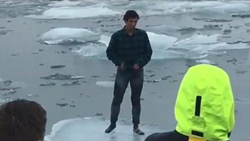 白痴!冰岛观光客不顾劝阻冰上拍照,突然裂开后傻眼了!