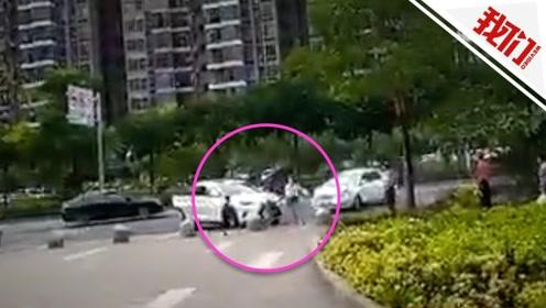 佛山一男子示爱不成驾车追撞女子和小孩 围观者:快跑!