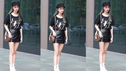黑色的短袖配黑色的包臀皮裙,小姐姐这黑色森林系列的气质真独特!