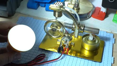 斯特林发动机是怎样工作的,带着小电机还能发电呢?