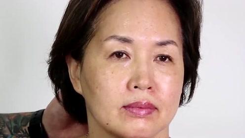 50岁大姐平时不打扮,化个彩妆后,看起来年轻了5岁
