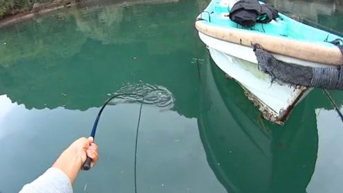 钓鱼:竿稍被拉到了水里