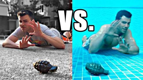 手榴弹扔进泳池里,威力到底有多大?奇葩老外作死做实验