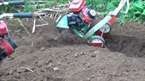迷你微耕机,翻耕时遇到石头怎么办?看看这台小农机的彪悍表现