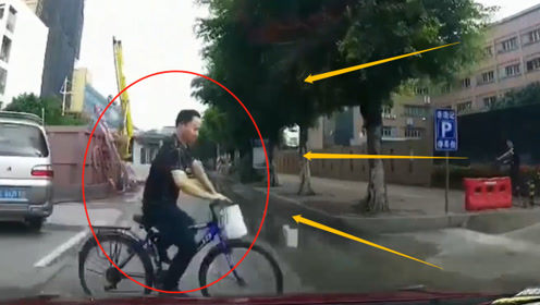 自行车男子横穿被轿车直接撞飞,若不是监控,谁能相信这不是谋杀?