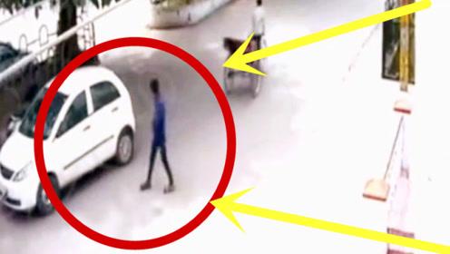小伙悄悄靠近轿车,接下来的操作让车主目瞪口呆,要不是监控谁信!