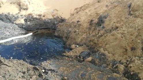 实拍腾格里沙漠受污染地区:气味令人作呕 污染物白色封存袋堆砌长达数百米