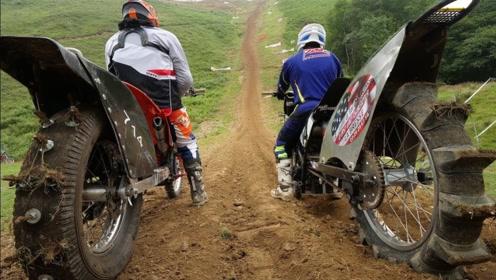 """老外骑摩托挑战""""世界最陡山坡""""!85度斜坡,油门拧到底往下冲"""