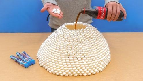奇葩脑洞试验:可乐加曼妥思,制作人造喷泉太刺激了