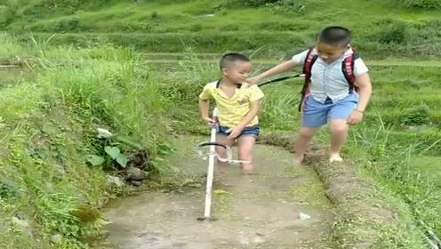 小兄弟放学回家不写作业,偷偷跑田里帮家长干农活,真是太懂事了!