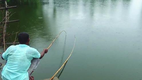 下着小雨,大叔却在水坑边钓得不亦乐乎,下一幕果然有大货上钩了