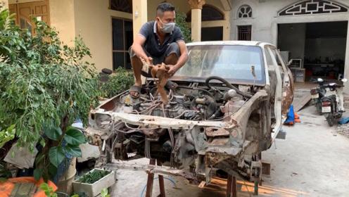 1993年产的汽车已报废,看牛人如何翻新,这是个大工程(第三集)