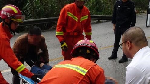广西桂林一辆载32人客车雨天失控撞山体 多人受伤