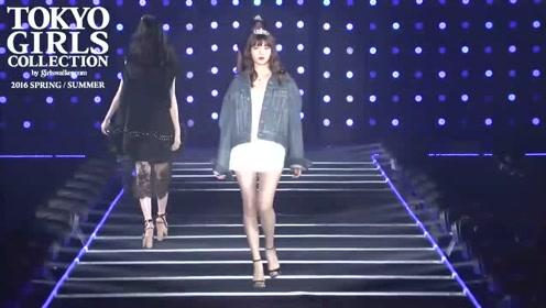 东京美女走秀,搭配牛仔外套,个性时尚