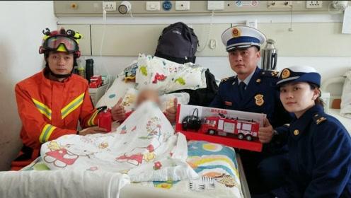 骨癌病童梦想当消防员 北京石景山消防蜀黍探望鼓励:好点了带你坐真车