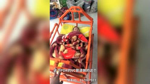 水电工父亲为宝宝自制摇篮,痴迷用PVC管做家具获网友点赞
