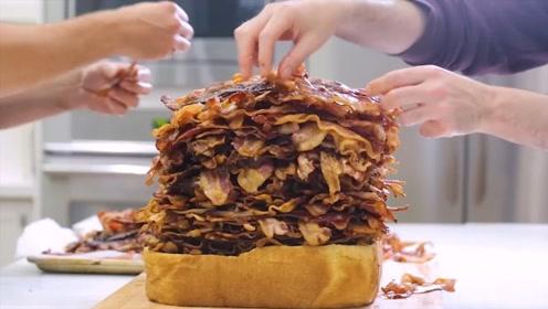 国外小哥制作巨型三明治,整整用了1000片培根