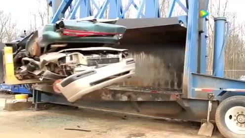 1000吨液压机有多厉害,汽车刚放上去,就知道没好下场