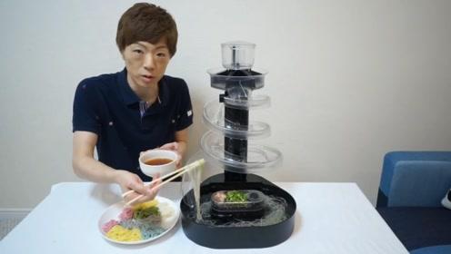 """日本美食""""流水素面"""",小伙担心吃到别人口水,在家搭了一个"""