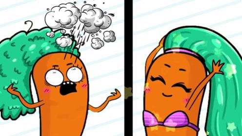 """胡萝卜刚做了新发型,没想到风一吹全炸开,""""爆炸头""""笑坏众人"""