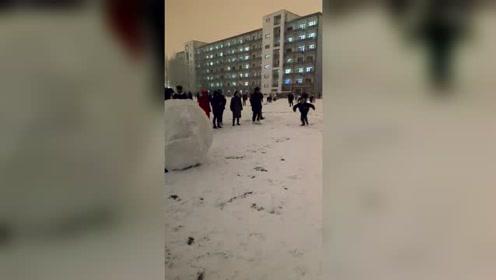 下雪以后的南方小伙伴做的雪球,北方人只是静静的看