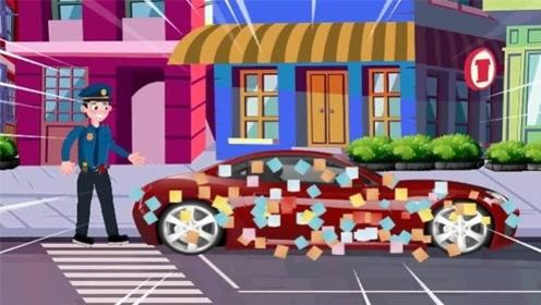 爸爸汽车被贴纸条挨训,回头一看宝宝不见了,竟模仿民警贴纸条?