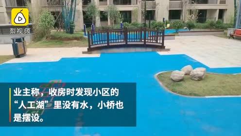 开发商回应用塑胶刷人工湖:图纸上未设计,可据反馈适当处理