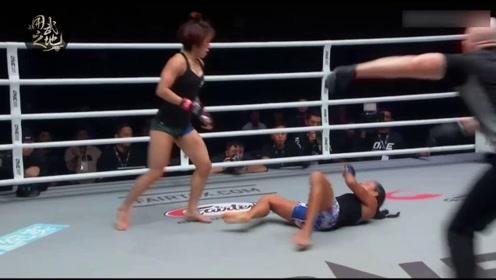 女子打拳也凶狠!中国猛将一分钟爆发两拳 首回合击退外国高手