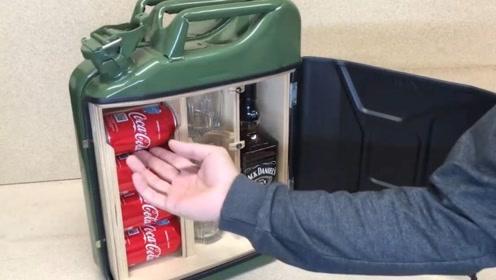 把油桶改造成一个小型酒柜,让人眼前一亮的发明,太实用了