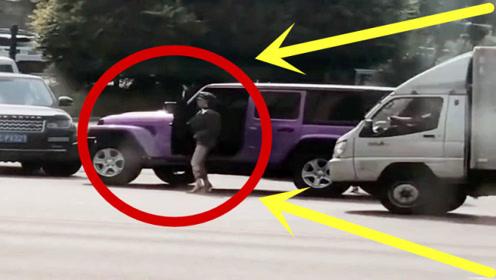 豪车女司机路遇路虎,下车后才是霸气的开始,路虎司机都自愧不如!
