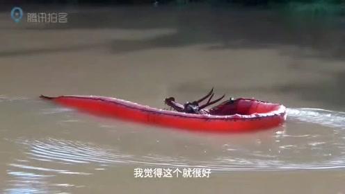 重庆六旬老人自制潜水艇完成了入水测试