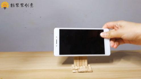 木质的小夹子,DIY成手机支架,好看又好用!