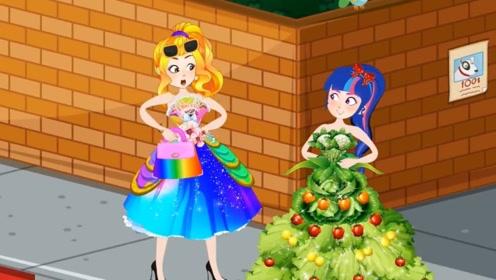 小魔女采摘蔬菜鲜花,做了一条特别的裙子,闺蜜看到好嫉妒!