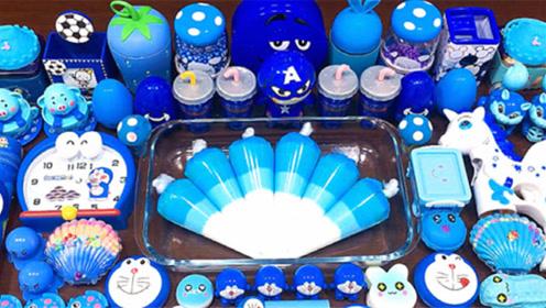 蓝色起泡胶混合机器猫钟表饰品,盒子泡沫,水晶泥,创意史莱姆教程