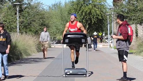 永不停歇健身恶作剧,在图书馆健身不算啥,公路上跑步才厉害
