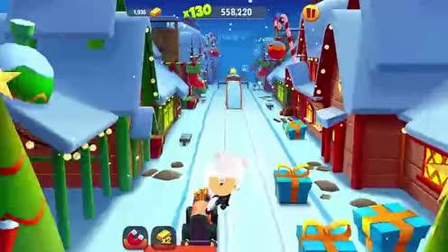 好玩的游戏:下雪天路面太滑!安吉拉猫差点摔跤了!