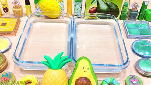 水晶彩泥+菠萝泥+芒果泥,混合粉底,指甲油,创意史莱姆教程