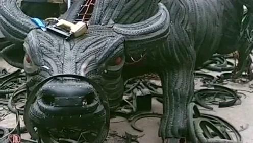 废品循环利用,牛人用轮胎拼成牛魔王,真是涨见识了!